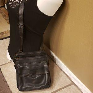 Fossill black crossbody leather purse